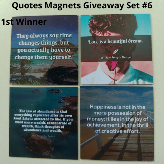 Giveaway Quotes Magnets Set 6 - 1st winner