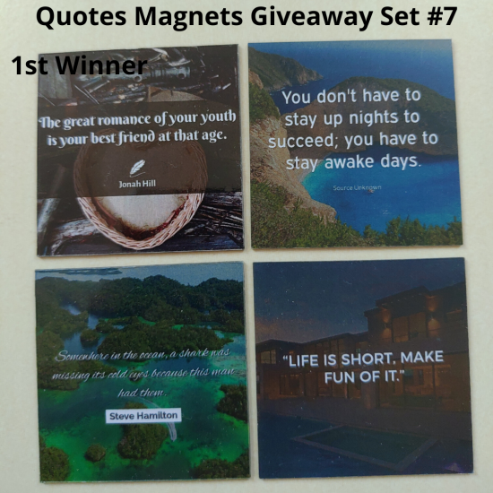 Giveaway Quotes Magnets Set 7 - 1st winner