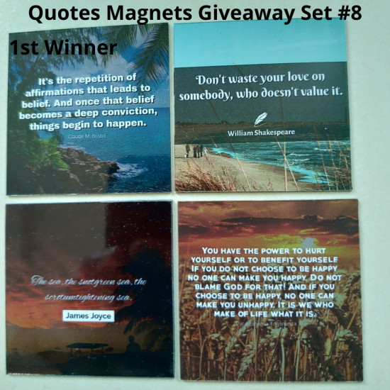 Giveaway Quotes Magnets Set 8 - 1st winner